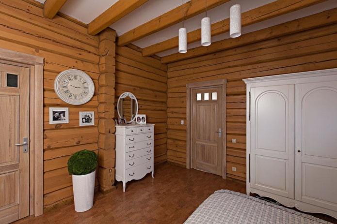 деревянные двери в спальне в стиле прованс