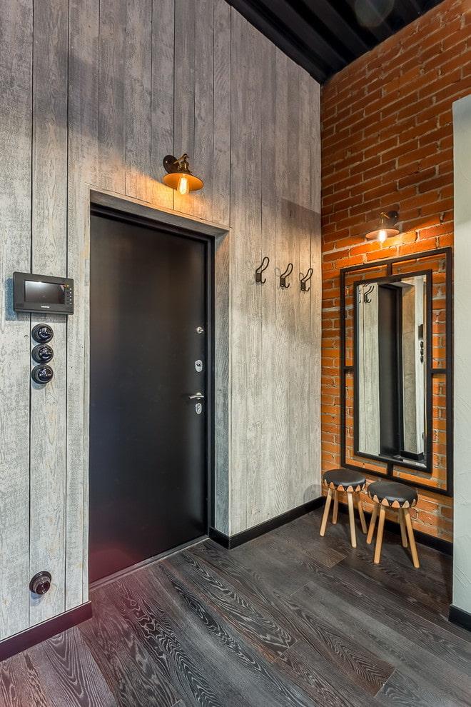 черные двери в интерьере в стиле лофт