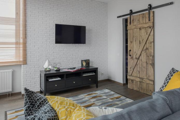 амбарные двери в интерьере в стиле лофт