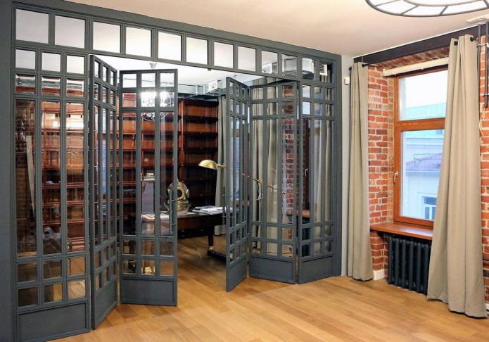 двери гармошкой в интерьере в стиле лофт