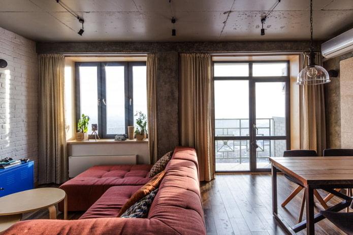 балконная дверь в интерьере в стиле лофт