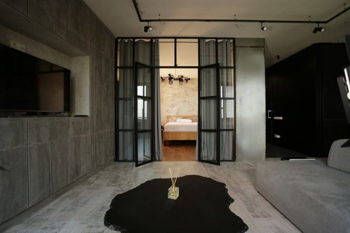 стеклянные двери в интерьере в стиле лофт