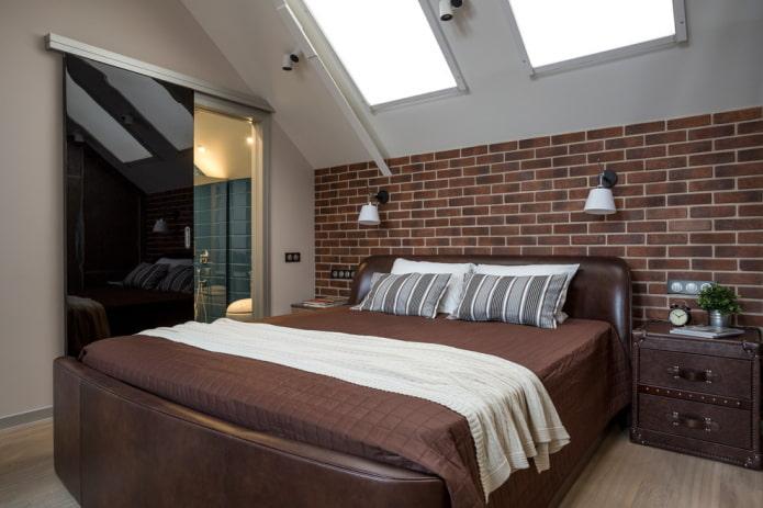 раздвижные двери в спальне в стиле лофт