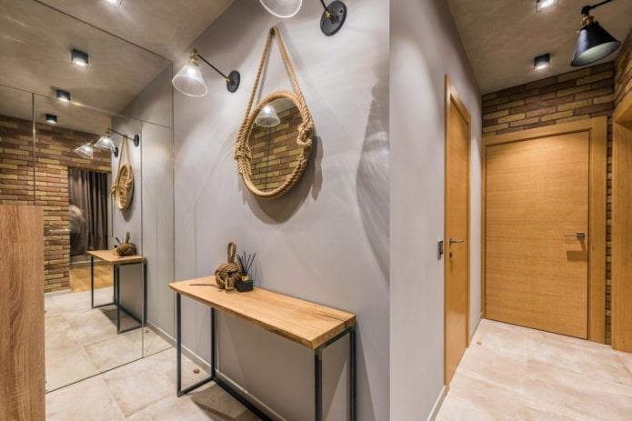 деревянные двери в прихожей в стиле лофт