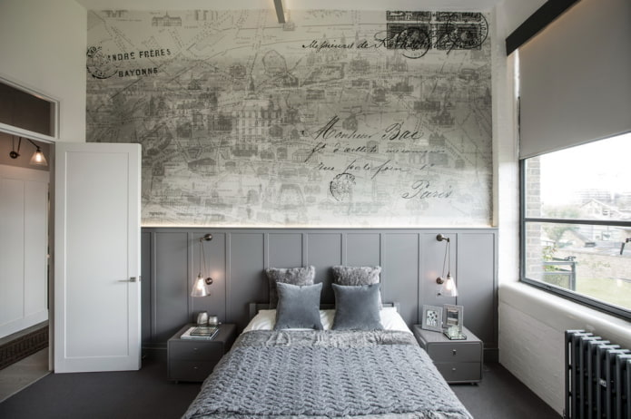 двери в интерьере спальни в стиле лофт