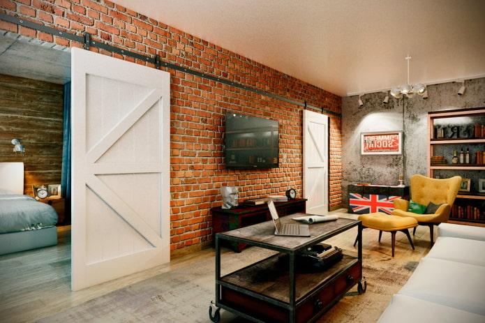 белые двери в интерьере в стиле лофт