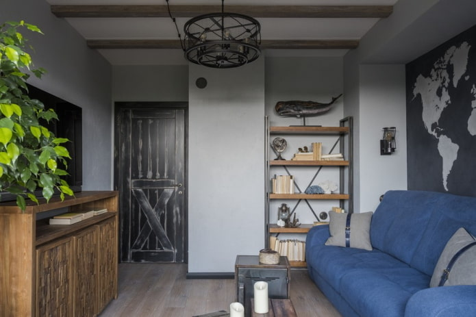 межкомнатные двери в гостиной в стиле лофт