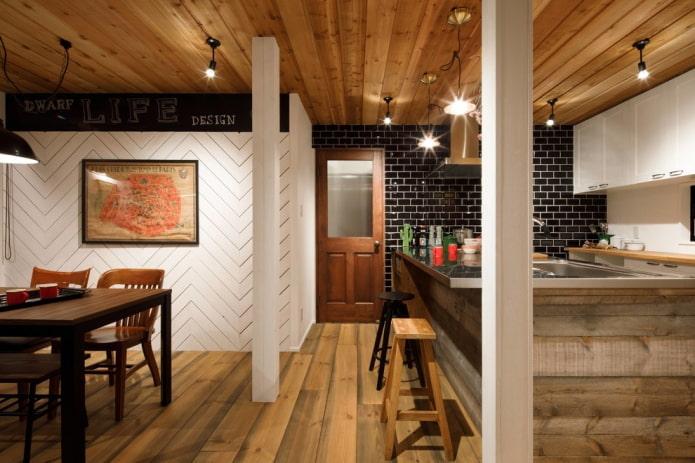 деревянные двери в интерьере в стиле лофт