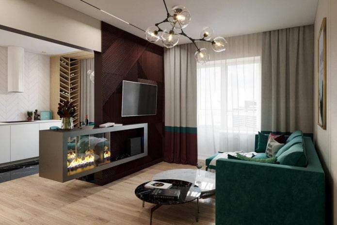 камин и телевизор в интерьере гостиной в квартире
