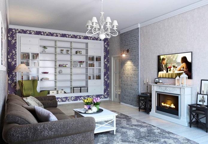 камин и телевизор в интерьере гостиной в стиле прованс