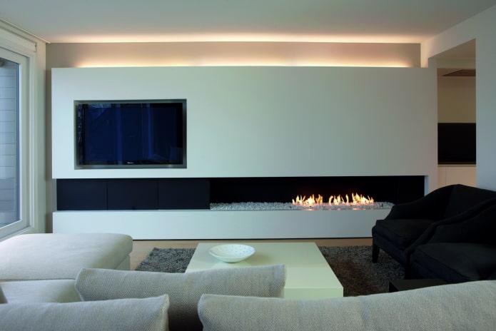 камин и телевизор в интерьере гостиной в стиле минимализм