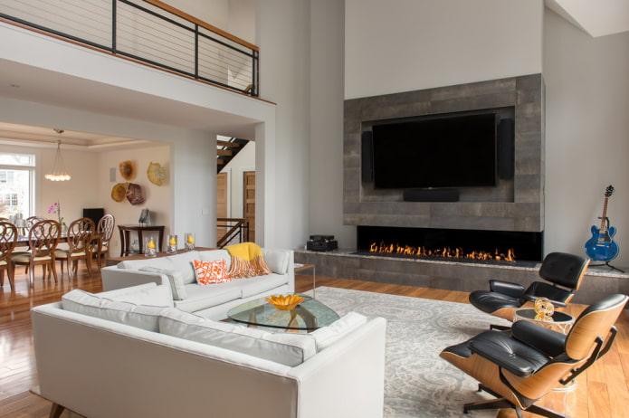 камин и телевизор в интерьере гостиной в современном стиле