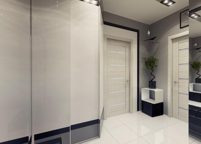 двери светлого оттенка в стиле хай-тек