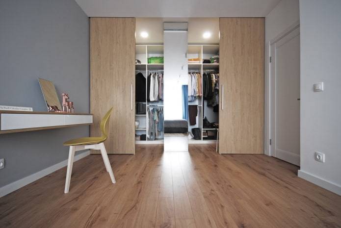 гардеробная с откатными дверями в интерьере