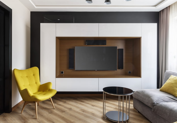 телевизор в мебельной нише в интерьере