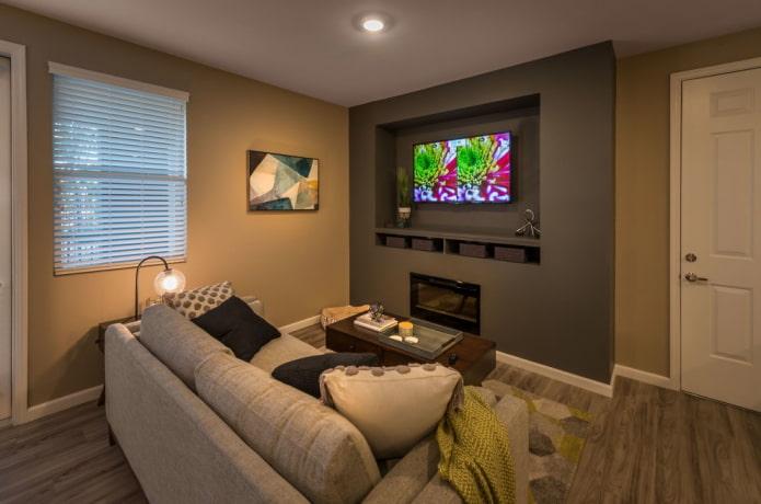 телевизор в нише в стене в интерьере