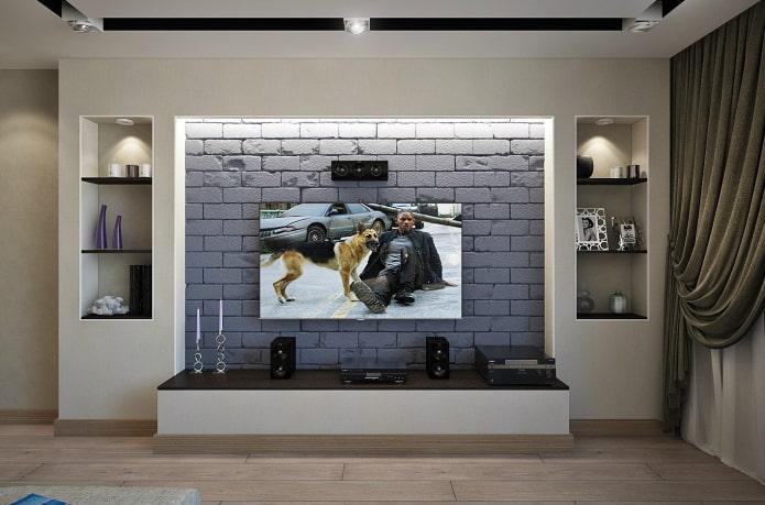 телевизор в нише с подсветкой в интерьере