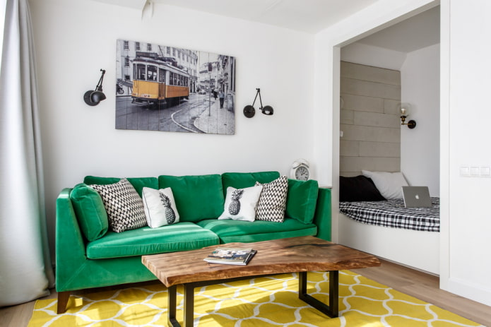 ниша с кроватью в однокомнатной квартире