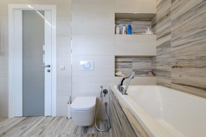 ниши для шампуней в интерьере ванной