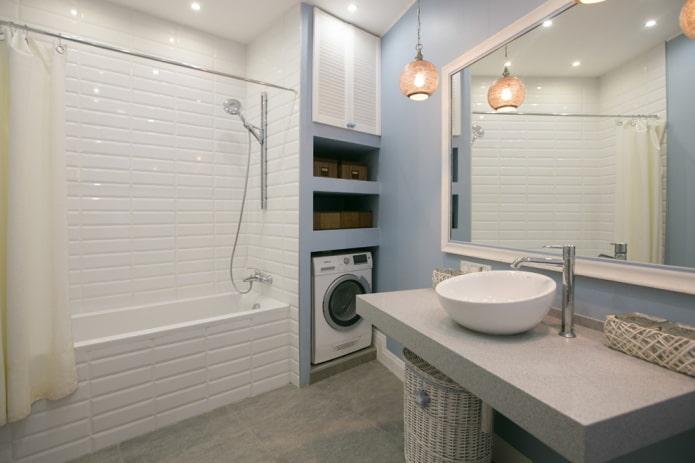 ниша со стиральной машиной в интерьере ванной