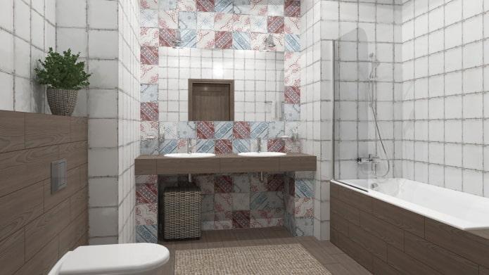 ниша с раковиной в интерьере ванной
