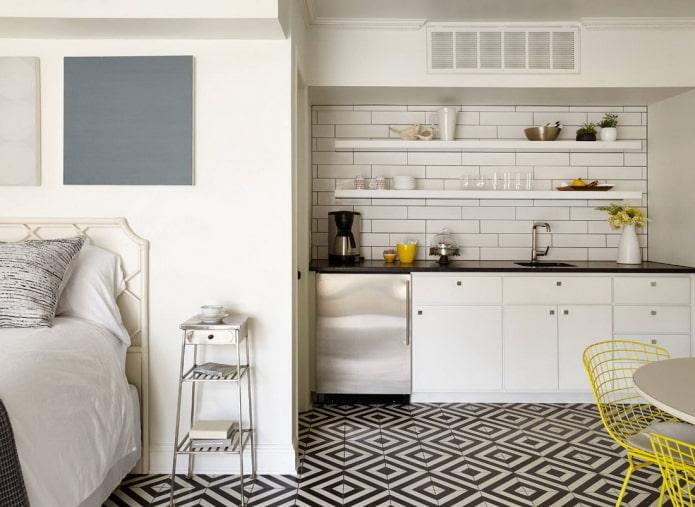 кухня в нише в интерьере
