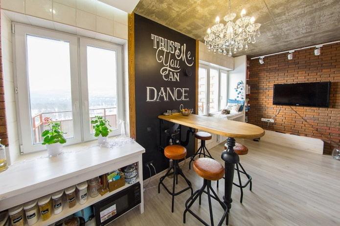 барный стол в интерьере в стиле лофт