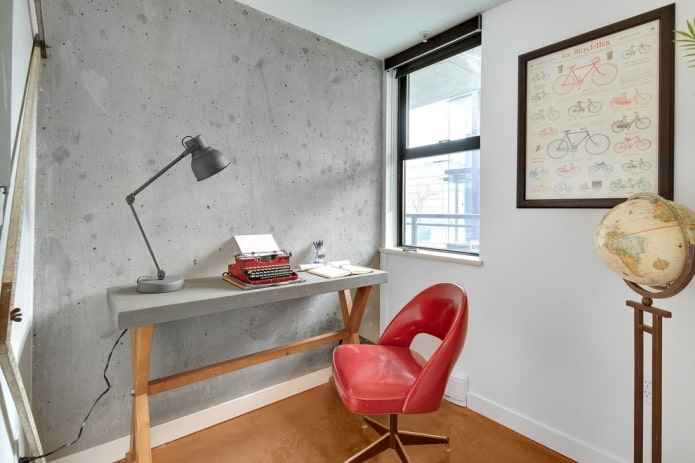 письменный стол в интерьере в стиле лофт