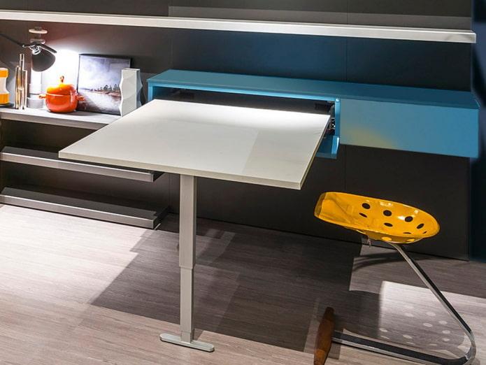 Выдвижной стол: фото в интерьере, виды, формы, материалы, встроенные варианты