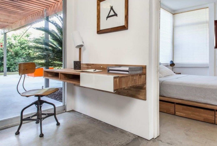 письменный подвесной стол в интерьере