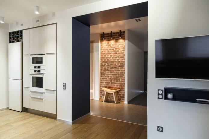 проход без двери в интерьере кухни