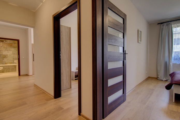 двери с горизонтальными вставками из стекла