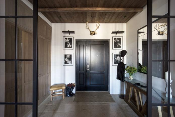 входные черные двери в интерьере