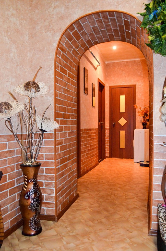 отделка арки декоративным камнем в квартире фото приготовили