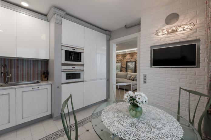 ниша с кирпичом в интерьере кухни
