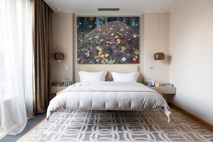 парящая кровать в интерьере в минимлистичном стиле