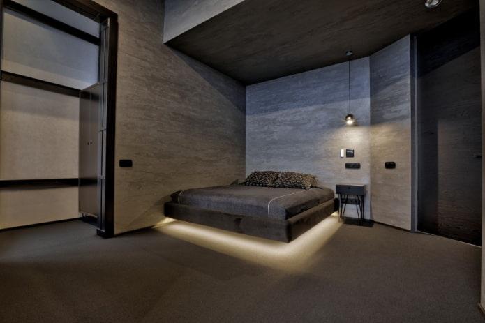 кровать с подсветкой и парящим эффектом