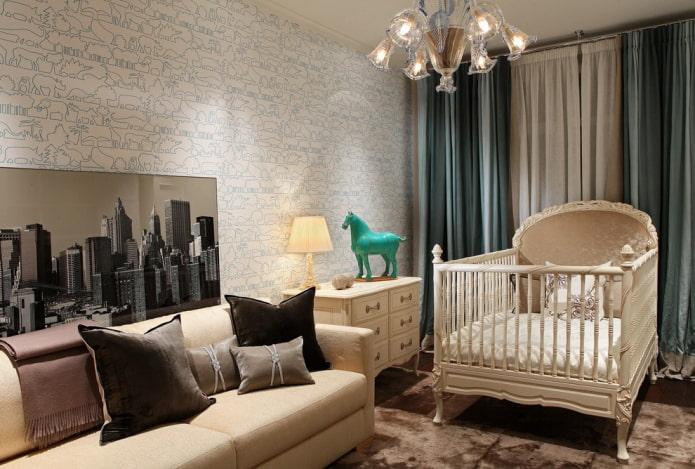 детская кроватка в интерьере гостиной