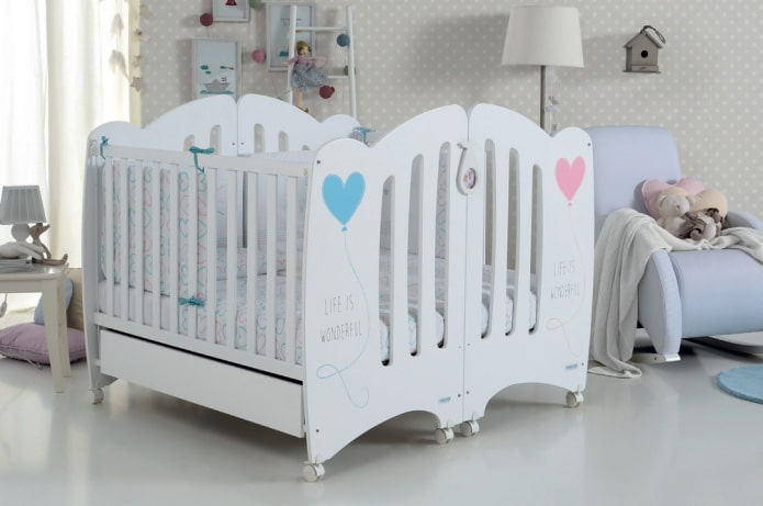 кроватка для двойняшек в интерьере
