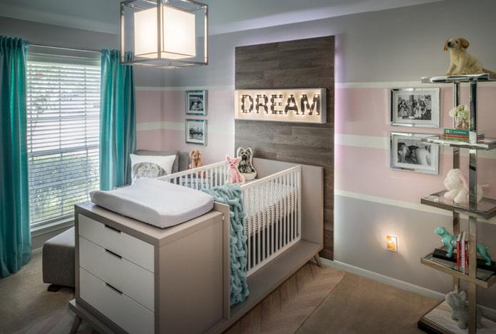 модель для новорожденных со встроенной мебелью в интерьере