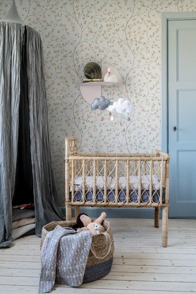 необычный дизайн детской кроватки в интерьере