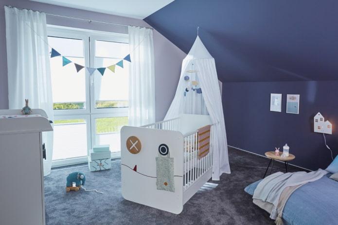 кровать для новорожденного мальчика в интерьере