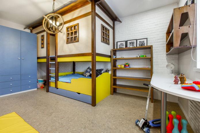 кровать в виде домика в детской для мальчика