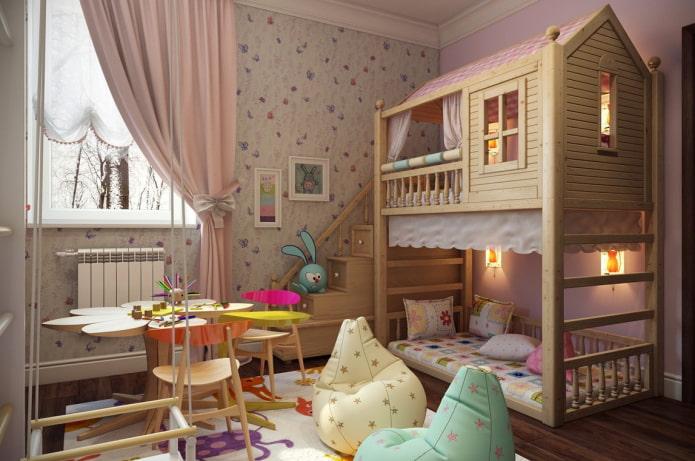 кровать в виде домика в детской для девочки