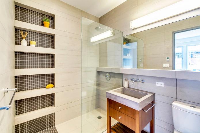 мозаика в нишах в интерьере ванной