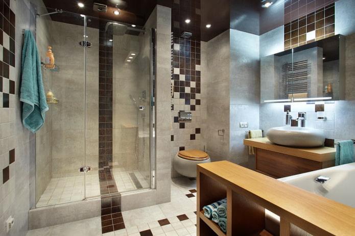 Душевая из плитки: виды, варианты раскладки плитки, дизайн, цвет, фото в интерьере ванной