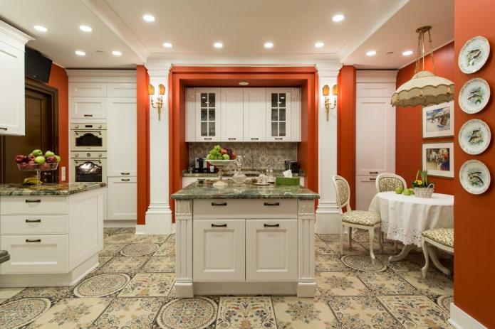 напольная плитка с рисунком в интерьере кухни