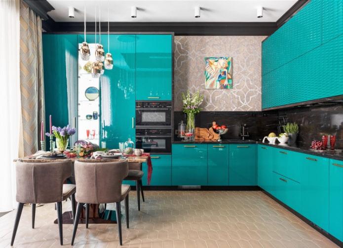 мелкая напольная плитка в интерьере кухни