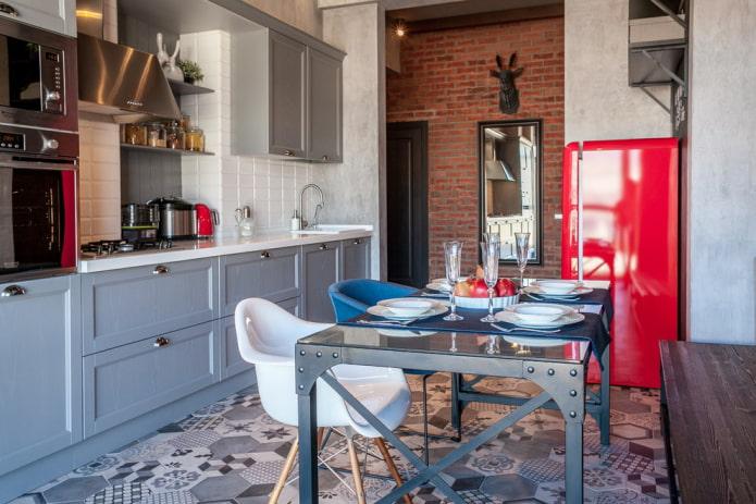 напольная плитка пэчворк в интерьере кухни