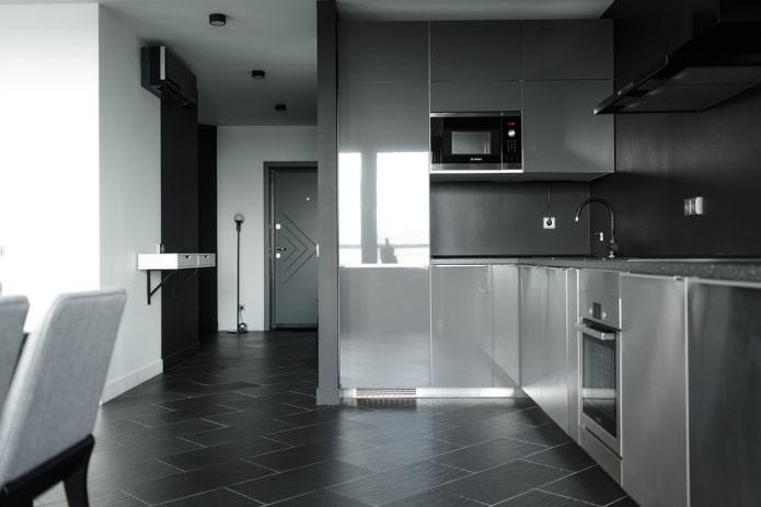 раскладка напольной плитки в интерьере кухни
